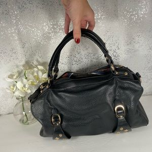 Black Satchel Bag with Metal Accents on Bottom